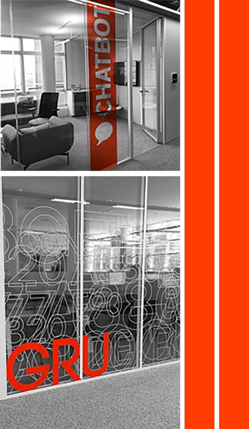 images de vitrophanie et vinyle adhésif dans des bureaux pour fabrication artisanale sur mesure big wall