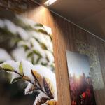 Papier peints pour pose sur bois et sur poteaux, impression directe sur dibond avec châssis dorsal, impression sur vinyle extra clear double stricke pour la vitrophanie, impression sur plaque en dibond brossé couleur laiton.